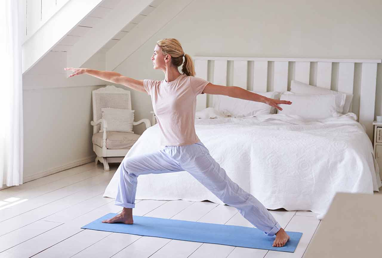 healthy morning workout with yoga