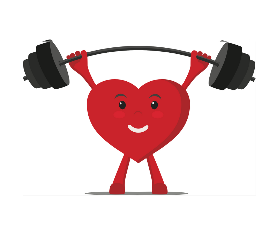 illustration of a heart lifting weights - strong heart