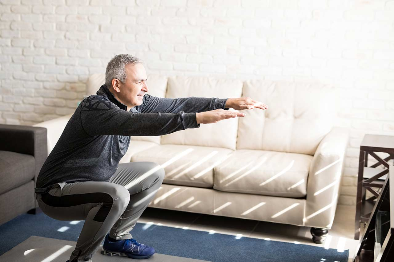 Image of middle aged man exercising