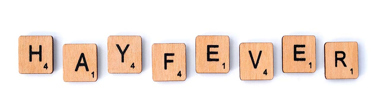 Hayfever spelt out in scrabble pieces
