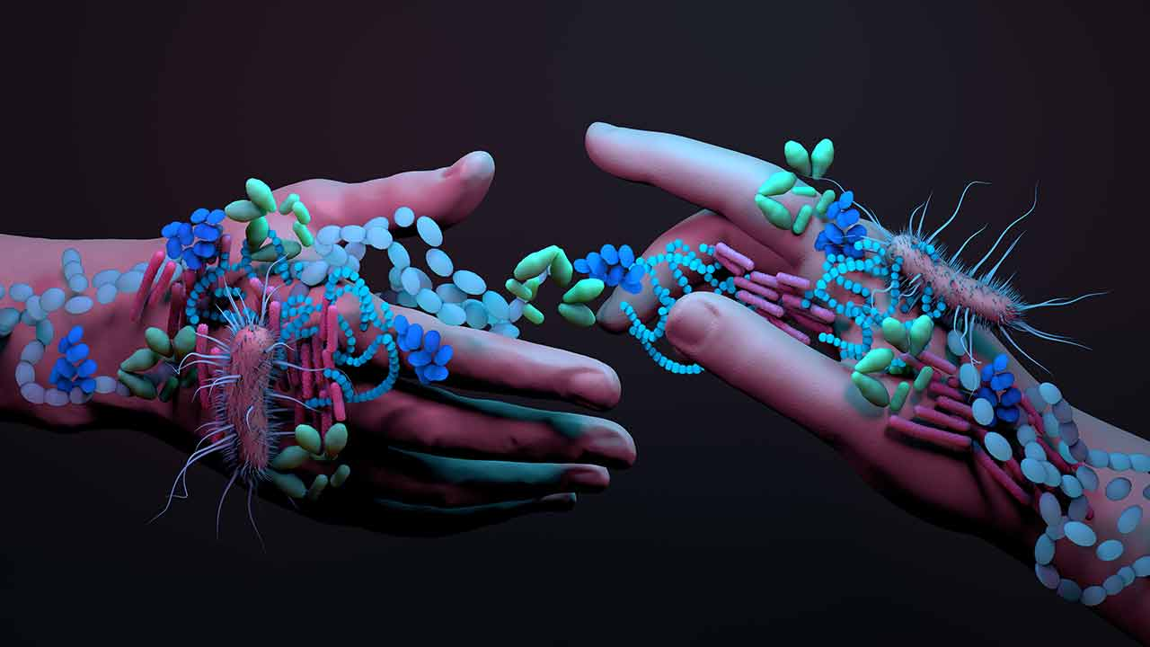 microbiome - Passing bacteria through contact image